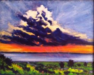 Edisto Island, SC Sunset Storm 16x20