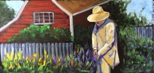 Man Gardening 24x12