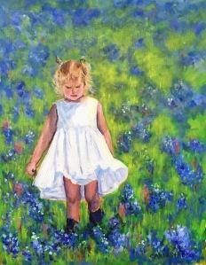 Little Girl in a Field of Bluebonnets  11x14 $225